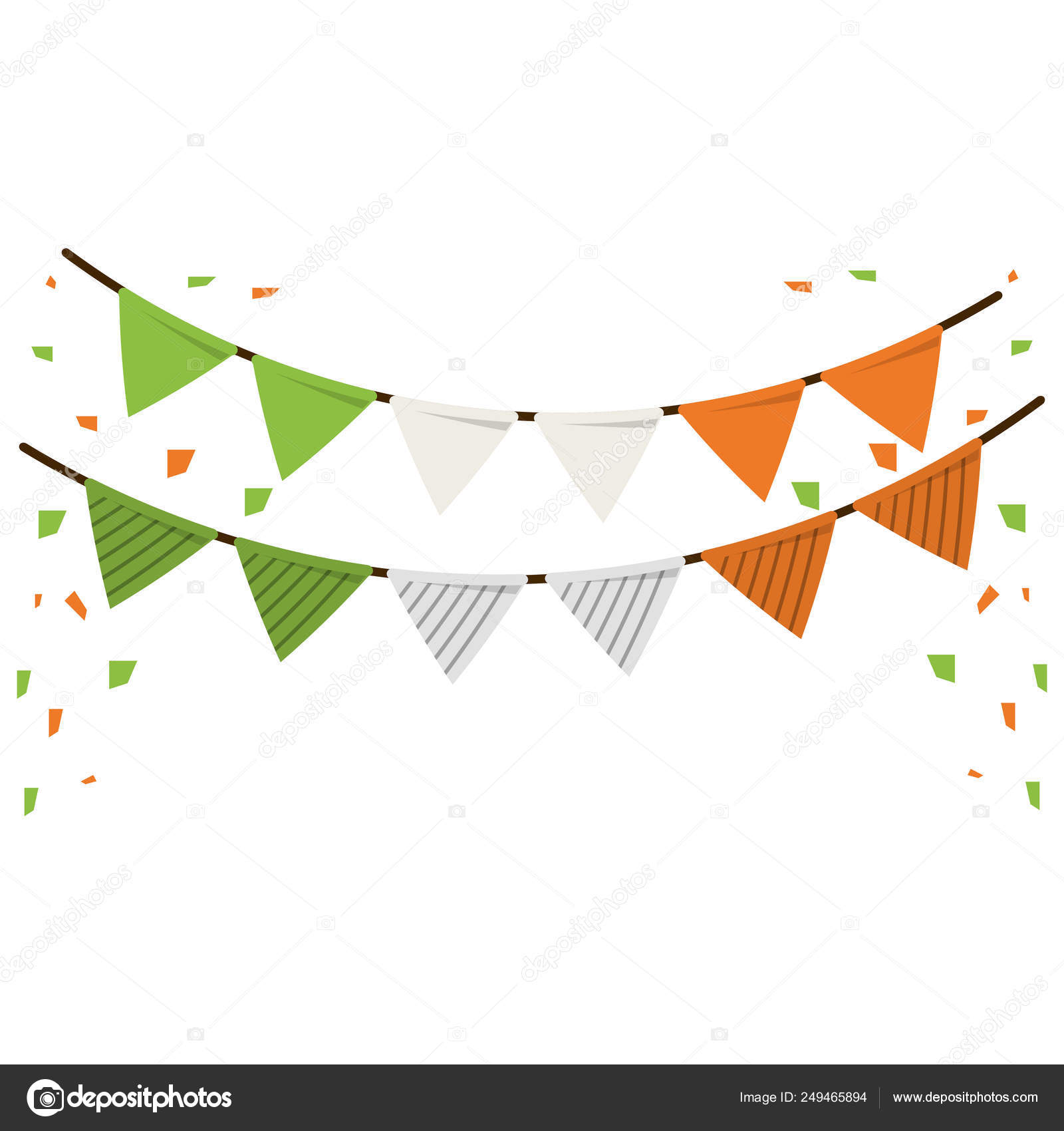Party Pennants Decorations Irish Colors Stock Vector