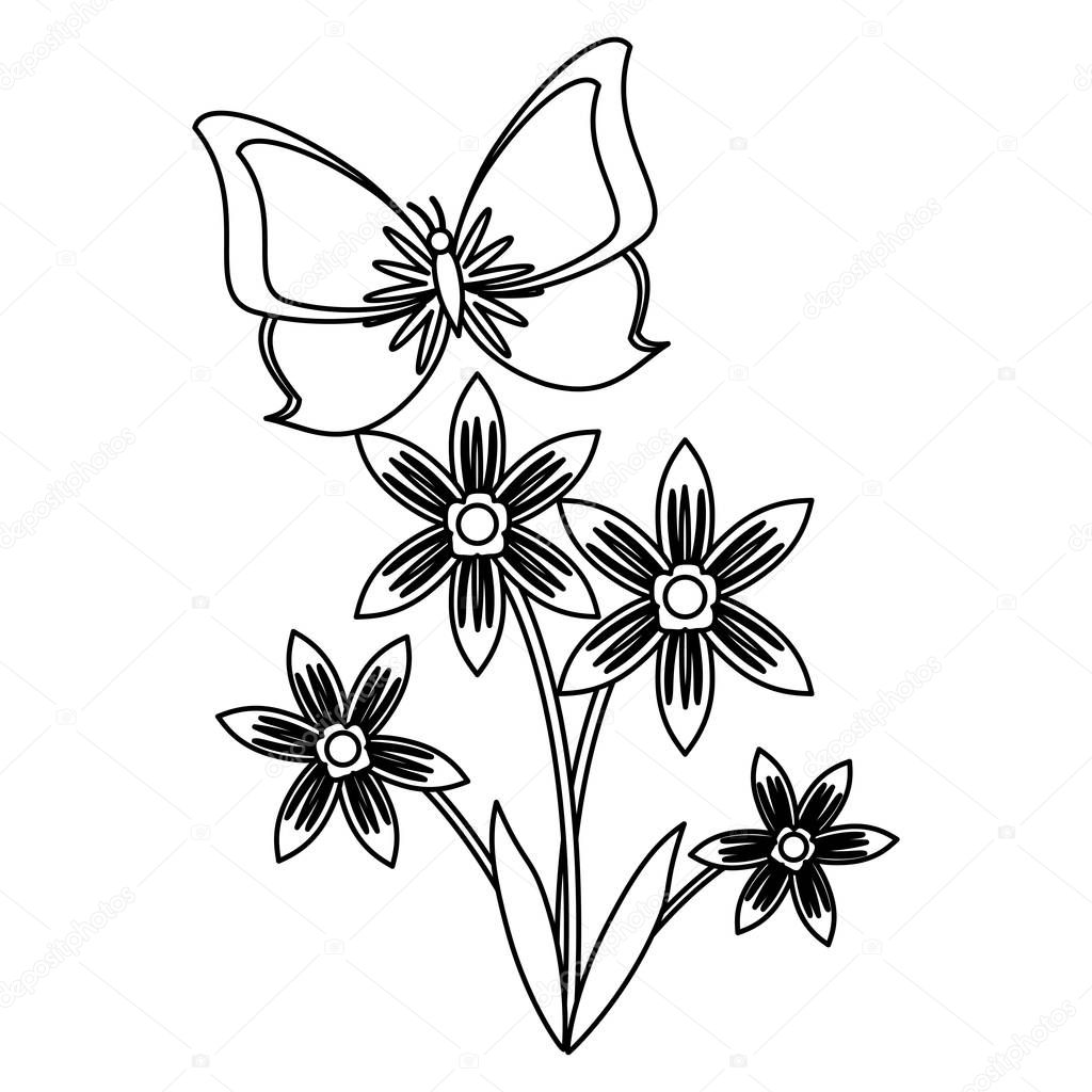 flower with butterfly cartoon in black and white
