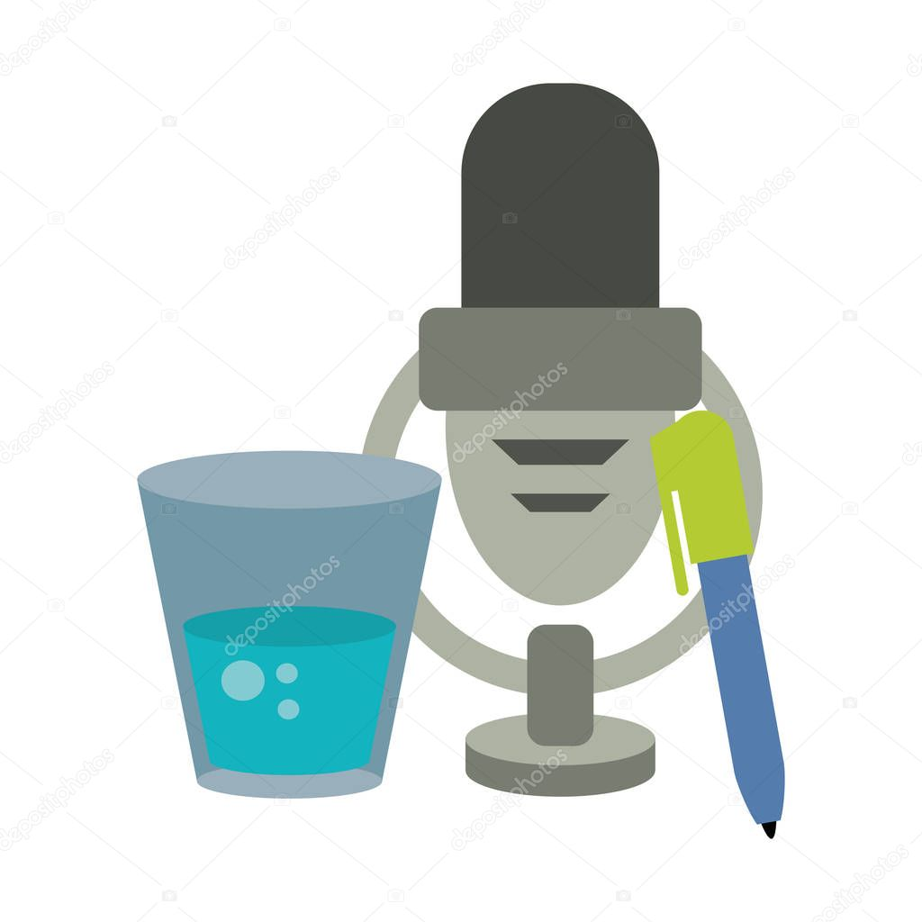 Microphone and pen with water glass