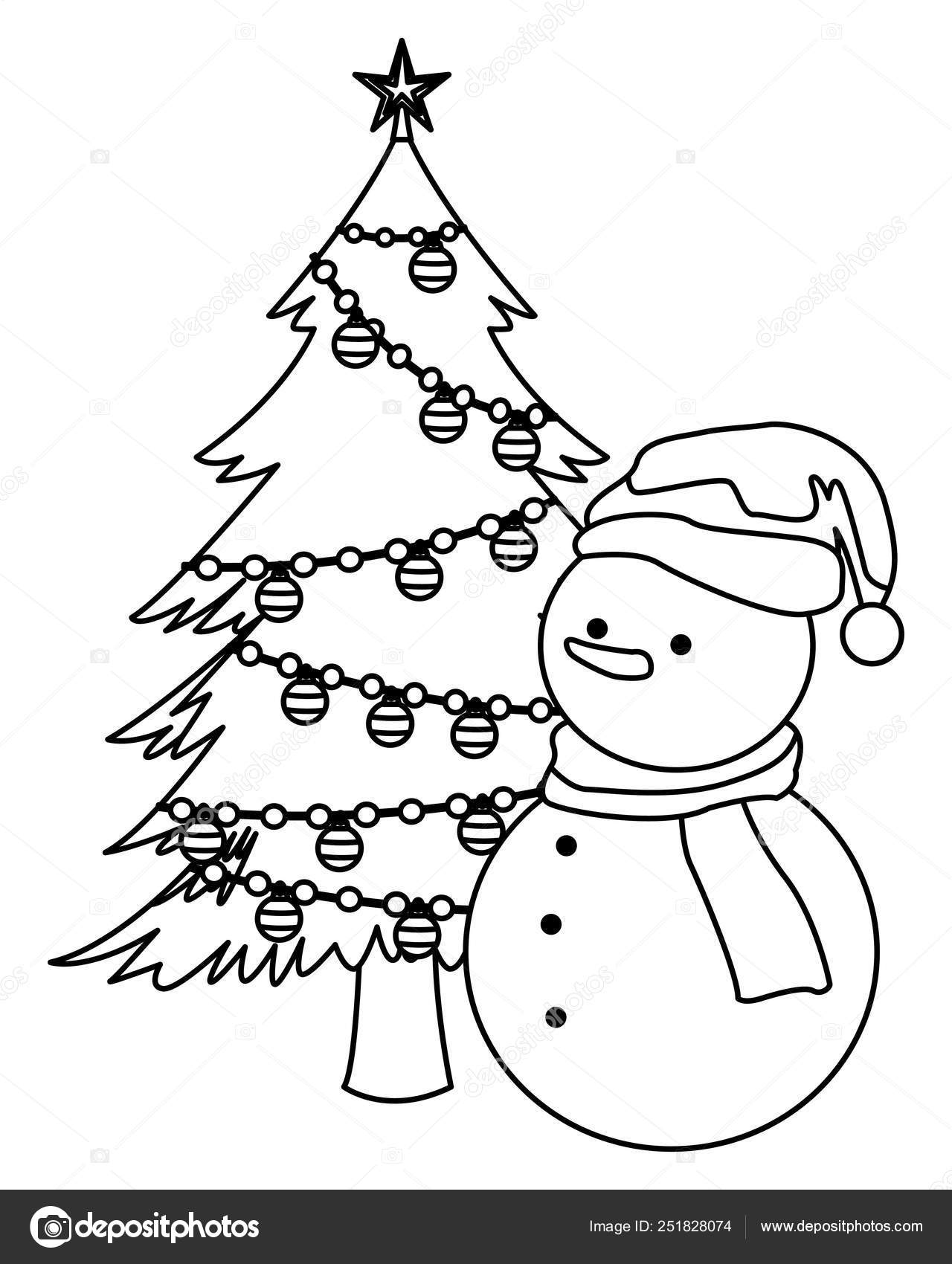 Snowman And Christmas Tree Black And White Stock Vector