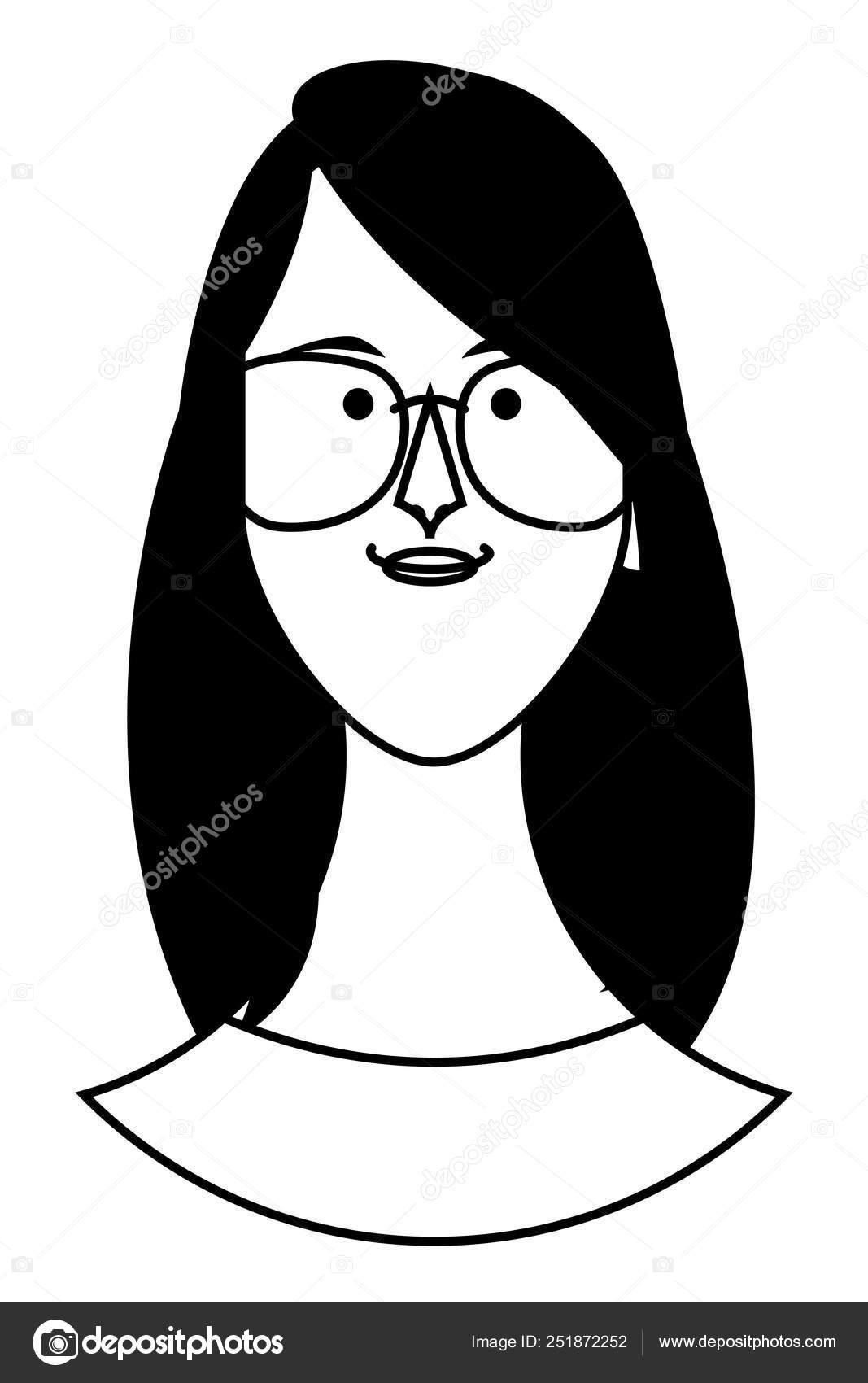 Woman Face Cartoon In Black And White Stock Vector C Jemastock