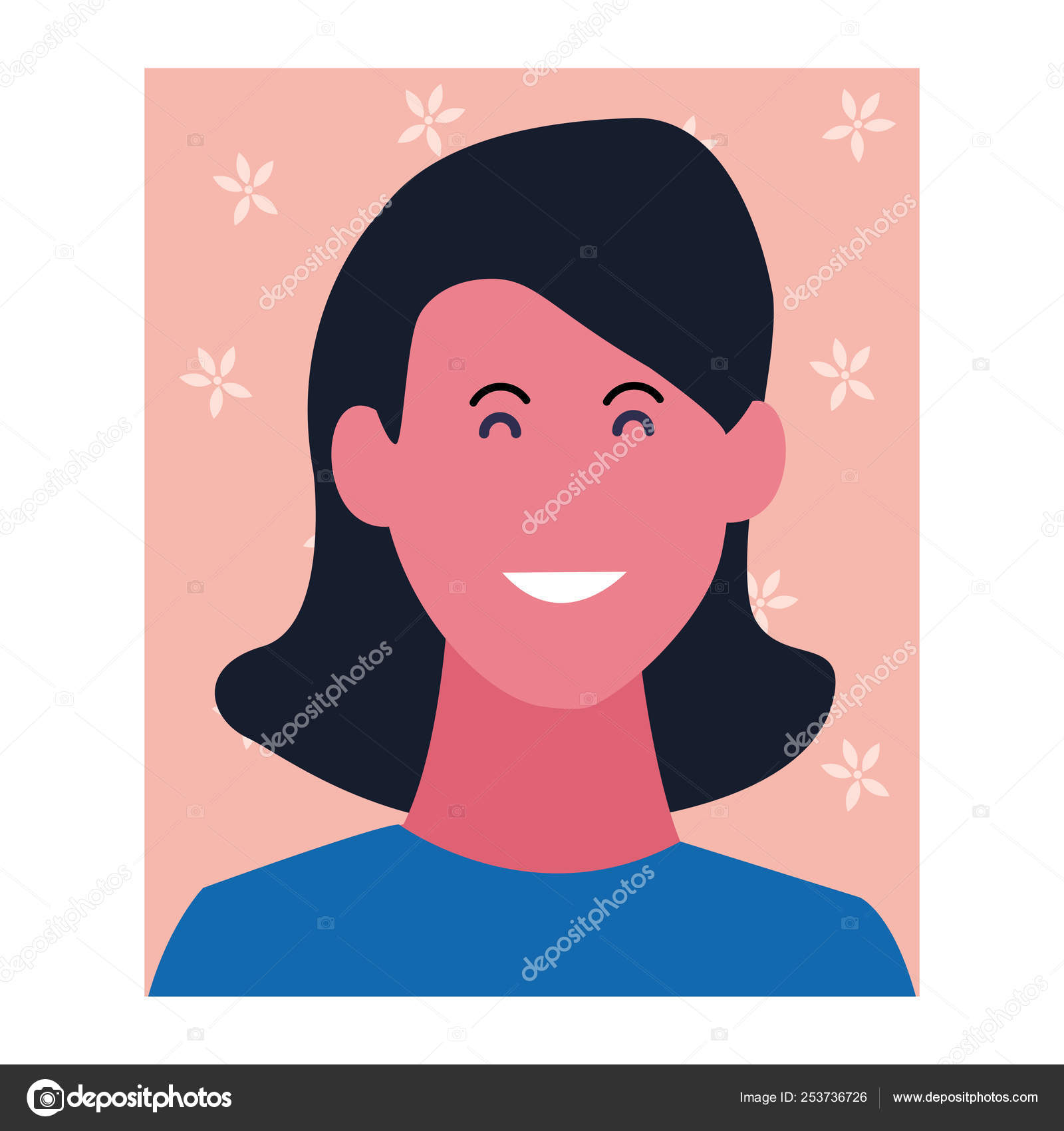 Woman Smiling Cartoon Profile Stock Vector C Jemastock 253736726