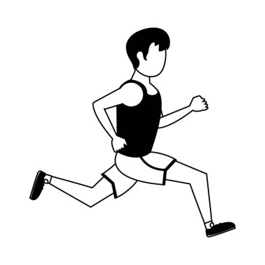 Fitness man running in black and white