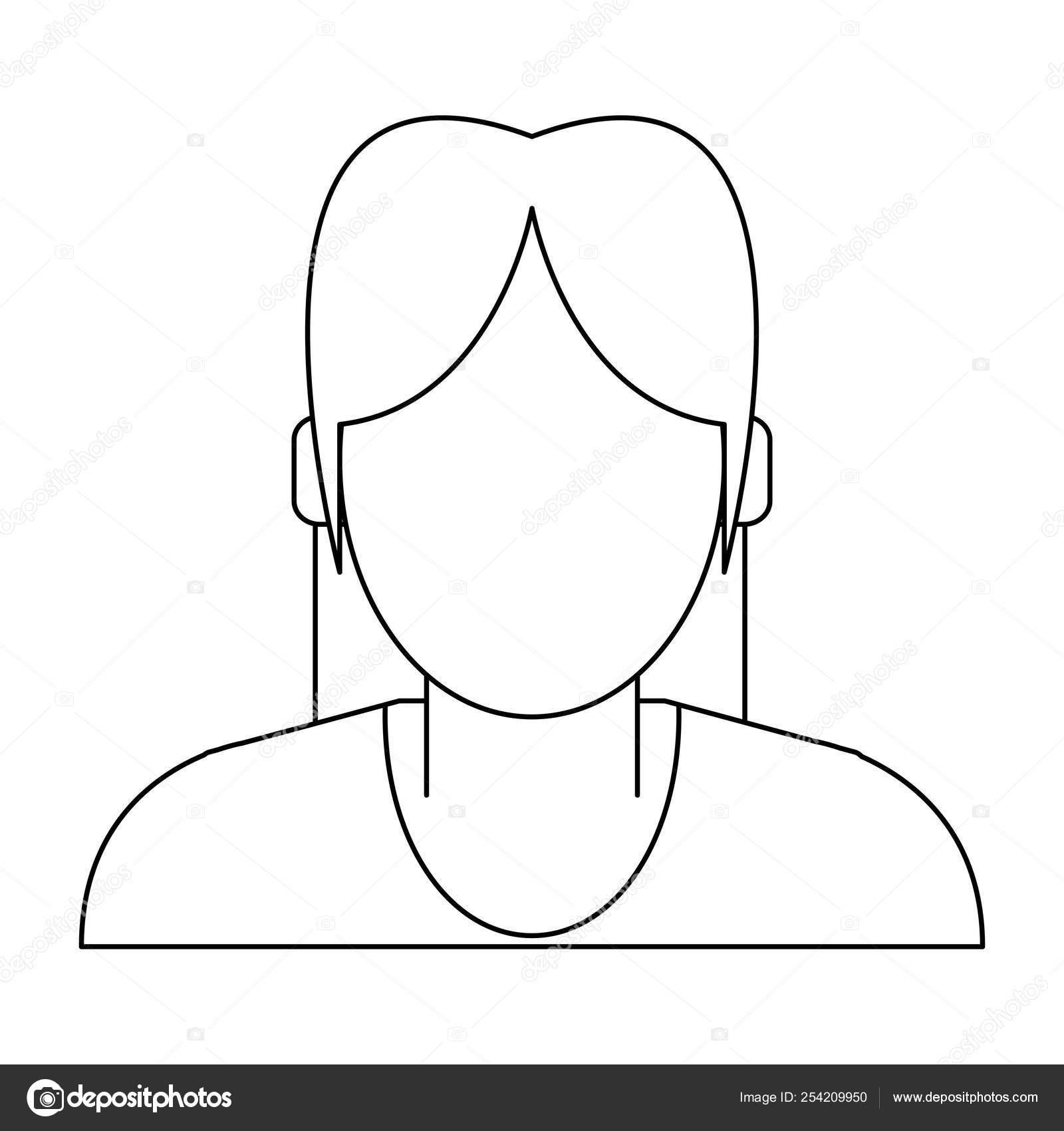Profil D Avatar Femme En Noir Et Blanc Image Vectorielle