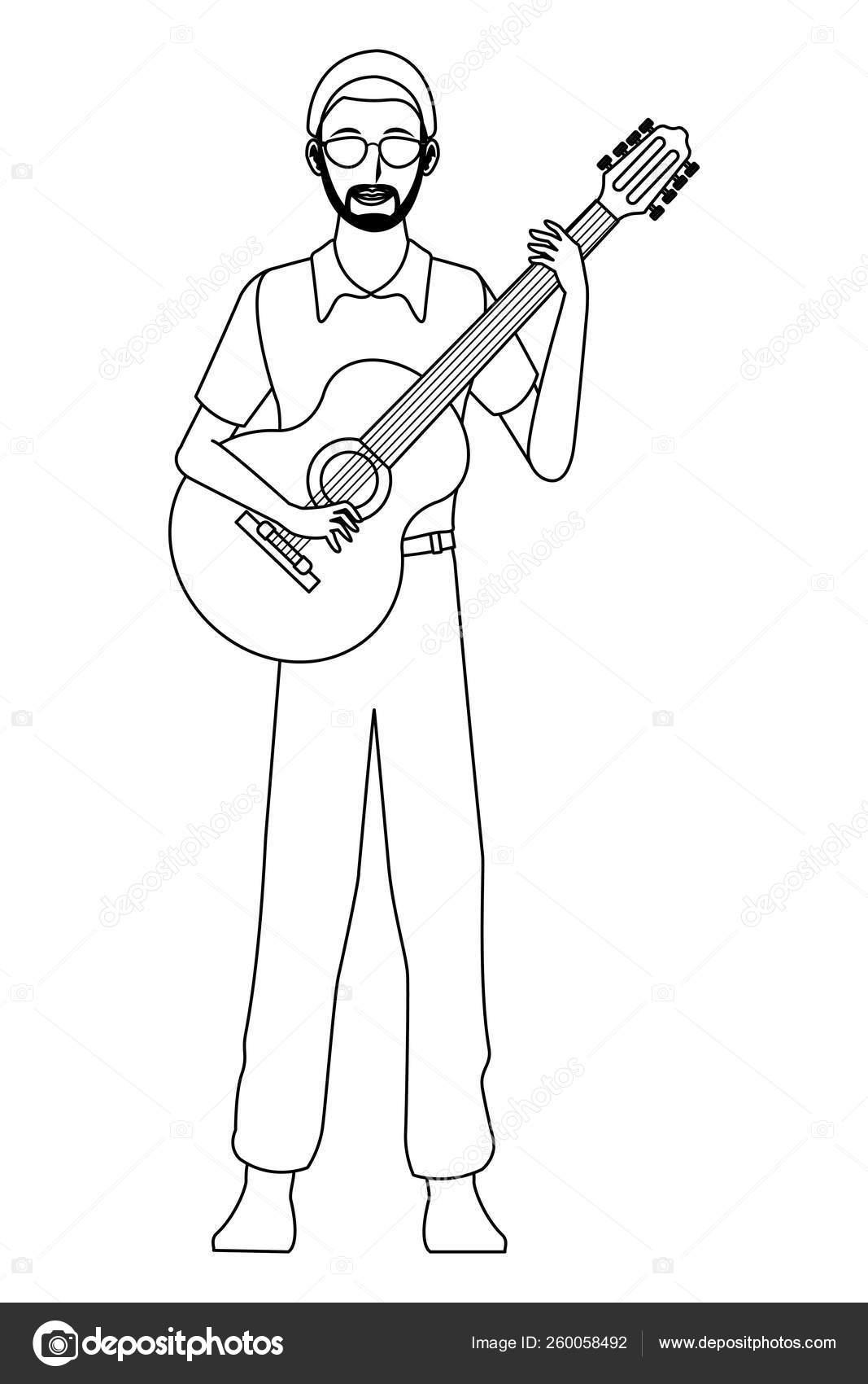 Musician Playing Guitar Black And White Stock Vector C Jemastock 260058492