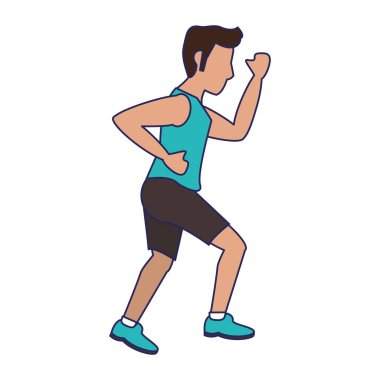 fitness man running sideview blue lines