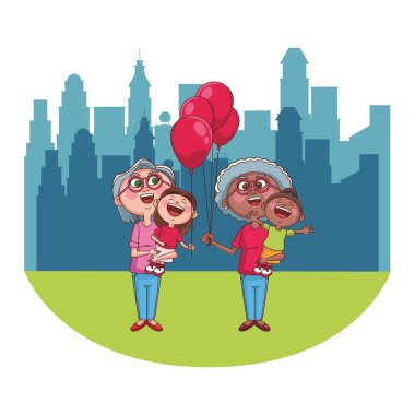 Grandmothers with granddaughters holding balloons over cityscape scenery clip art vector