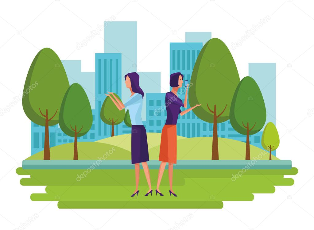 Cellphones Showing A Couple Avatar Cartoon Character Portrait And Speech Bubbles In The Park And Cityscape Background Vector Illustration Graphic Design Premium Vector In Adobe Illustrator Ai Ai Format