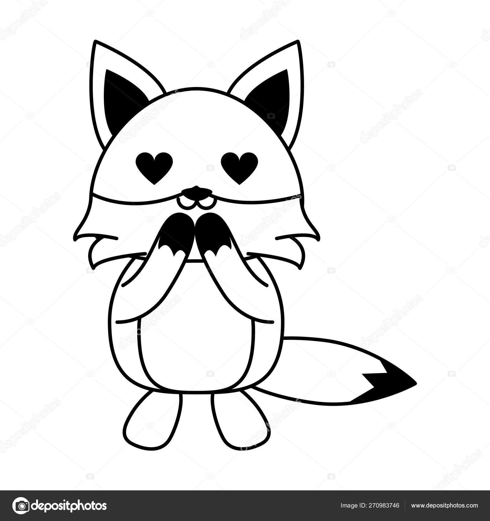Dessin Anime Mignon D Animal De Renard Dans Le Noir Et Le Blanc