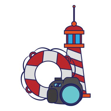 Travel and vacations symbols blue lines