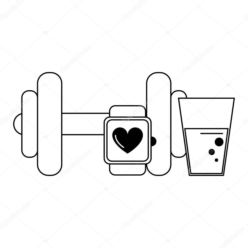 Gym fitness equipment black and white
