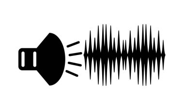 speaker with sound signal black and white