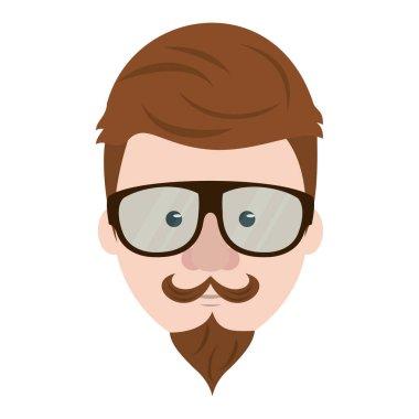 Hipster guy face cartoon vector illustration
