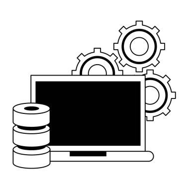Business and office technology symbols in black and white