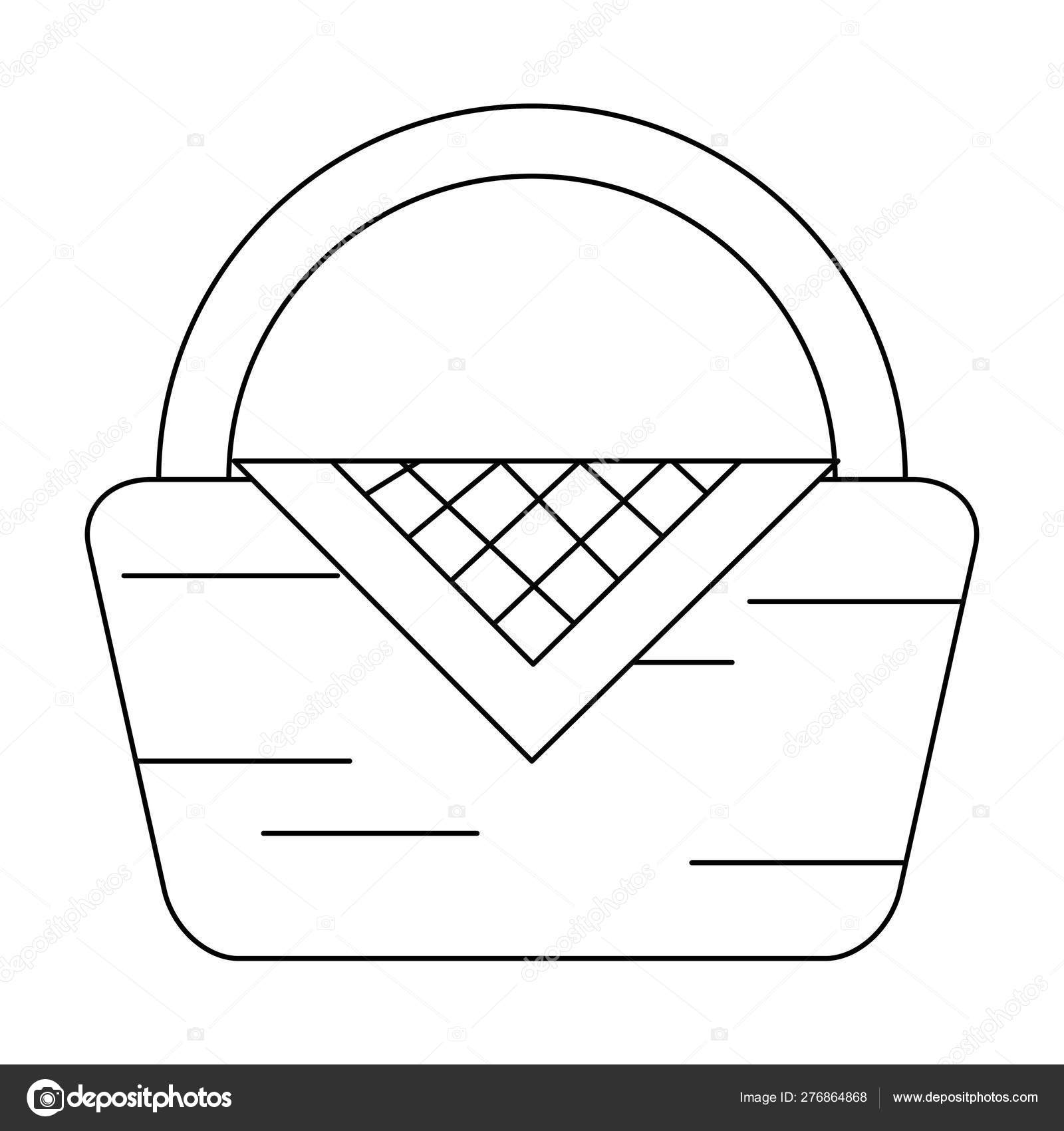 Picnic Basket Symbol Cartoon Black And White Vector Image By C Jemastock Vector Stock 276864868
