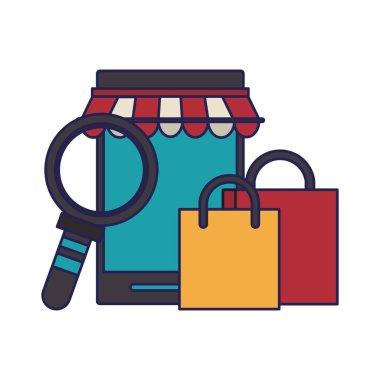 online shopping concept cartoon