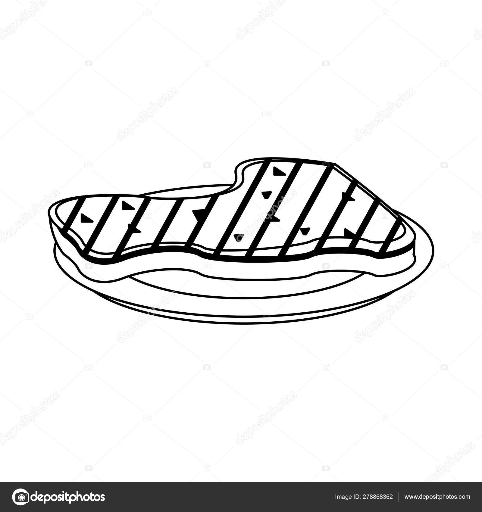 beef steak on dish cartoon in black and white stock vector c jemastock 278868362 beef steak on dish cartoon in black and white stock vector c jemastock 278868362