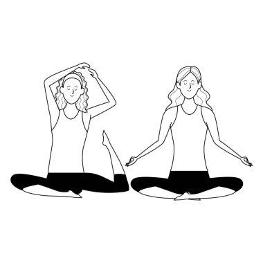 women yoga poses black and white