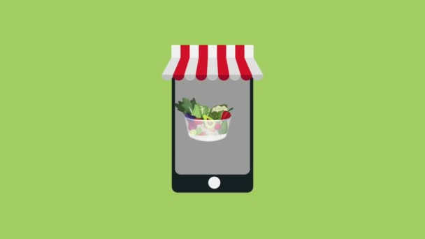 Online objednávka v dobré potravě HD animace