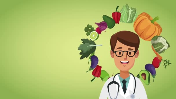 Doctor and healthy food HD animation