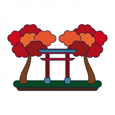 Japanese gate with trees blue lines