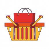 Bevásárlókosár szimbólum elszigetelt kék vonalak