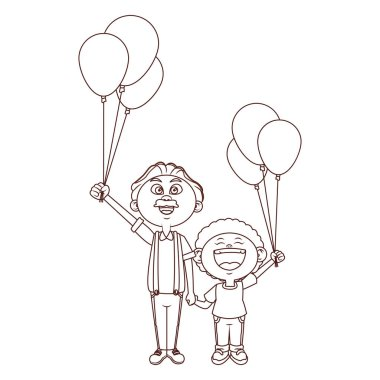 Grandfather with grandson holding balloons black and white vector illustration graphic design clip art vector