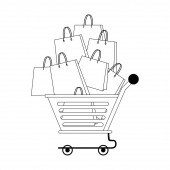 shopping retail sale store cartoon in black and white