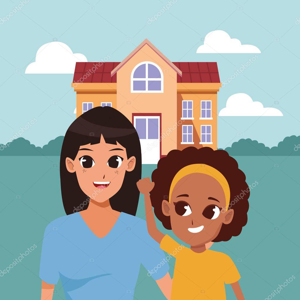 Family Single Mom And Children Cartoons Outside House Vector Illustration Graphic Design Premium Vector In Adobe Illustrator Ai Ai Format Encapsulated Postscript Eps Eps Format