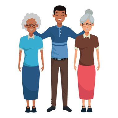 Family two grandmothers with adultt afro grandson vector illustration graphic design clip art vector
