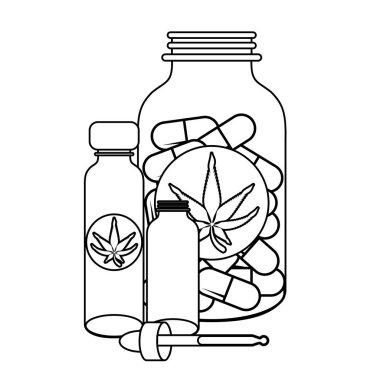cannabis martihuana sativa hemp cartoon in black and white