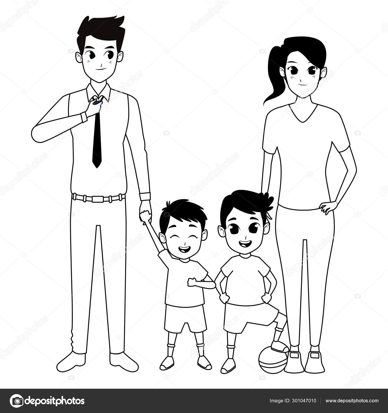 Family Parents And Childrens Cartoons In Black And White Stock Vector C Jemastock 301047010
