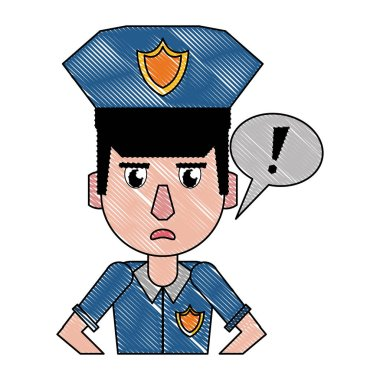 Police profile cartoon scribble