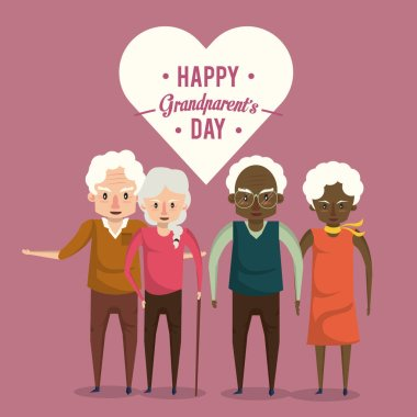 Happy grandparents day card with elderly couples cartoons vector illustration graphoc design. clip art vector