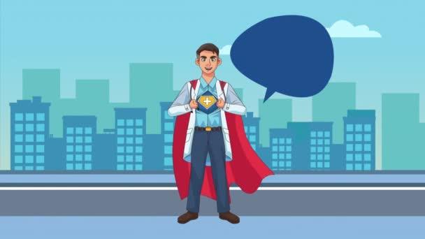 hősies szuper orvos a város karakter animált