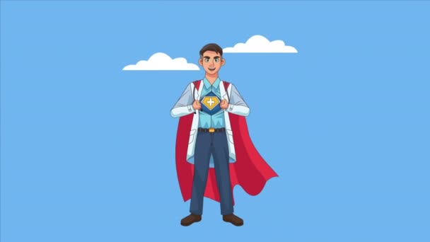 hősies szuper orvos karakter animált