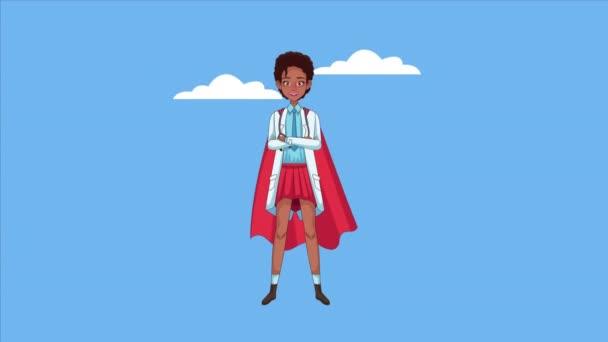 afro női hős szuper orvos karakter animált