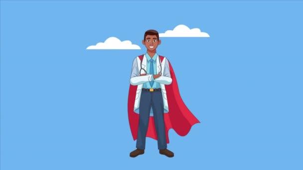 hősies szuper afro orvos karakter animált