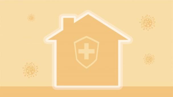 Haus mit Schildschutz für Covid19