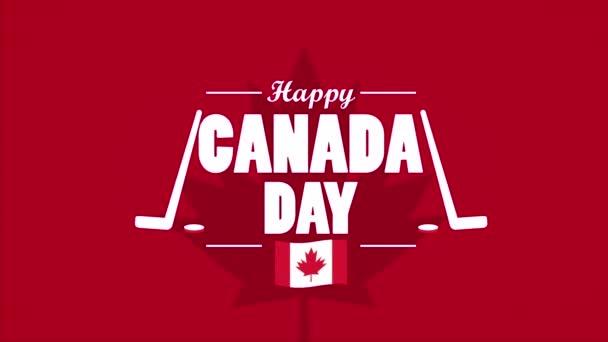 happy canada day celebration with flag and hockey sport