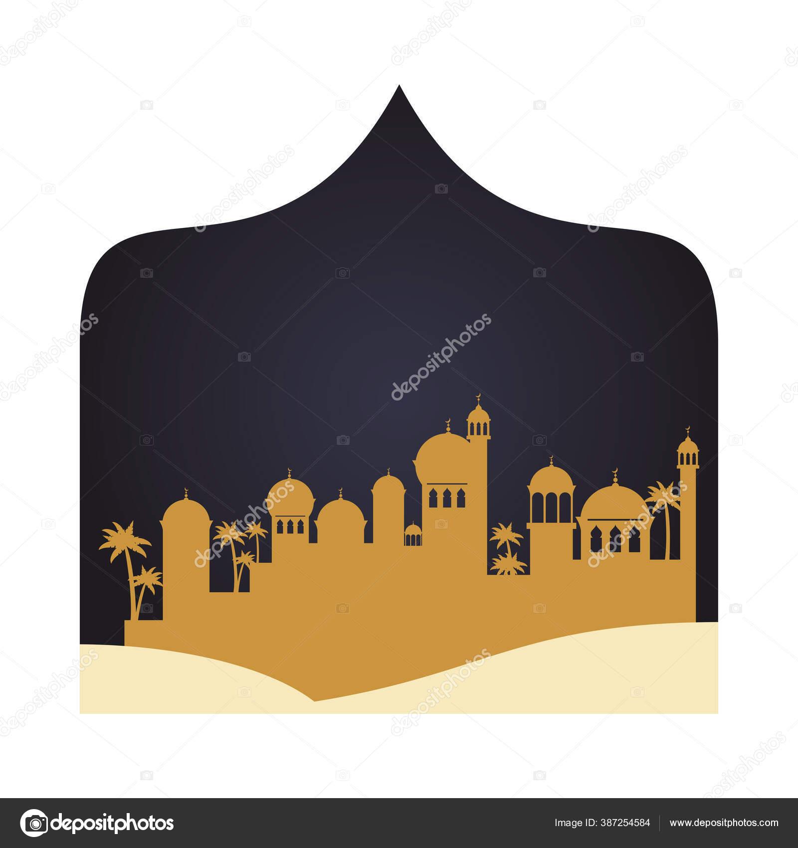 Pemandangan Ramadan Kareen Golden Cityscape