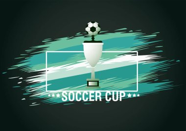 football soccer sport poster with trophy cup award