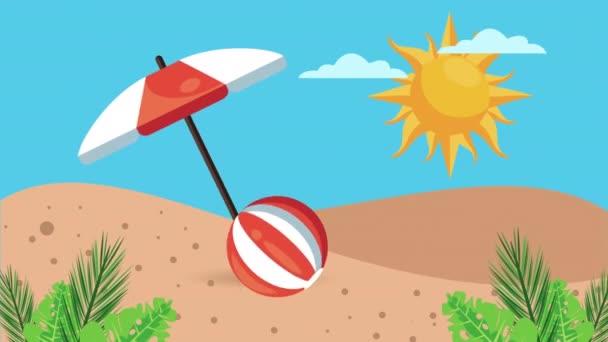 summer holiday season with umbrella and balloon on the beach