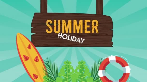 summer holiday season with wooden label and surfboard