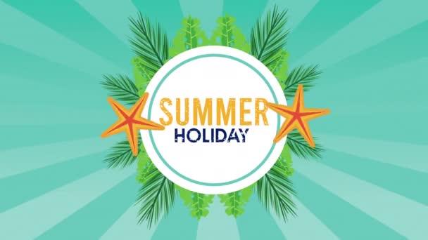 letní prázdninová sezóna s hvězdicovým kruhovým rámem