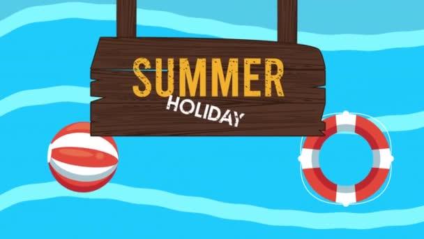 nyári nyaralás szezon fa címkével és strand léggömb