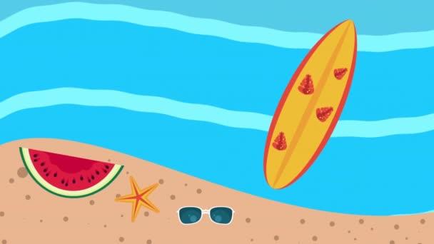 summer holiday season with surfboard on the beach