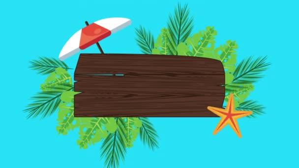 nyári ünnepek fából készült címkével és esernyővel
