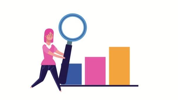 podnikatelka zvedání lupa a statistiky pruhy animované