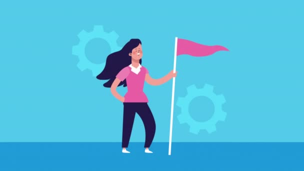 businesswoman with success flag character animated